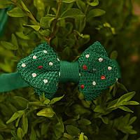 Bow Tie House™ Бабочка вязаная уголком зеленая в горошек