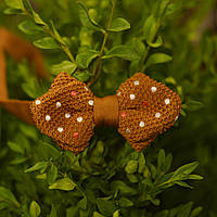 Bow Tie House™ Бабочка вязаная уголком коричневая горошек