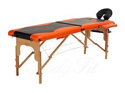 Массажный стол Body Fit 2-х сегментный деревянный,стол для массажа,кушетка деревянная (черно-оранжевый)