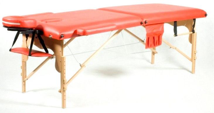 Массажный стол Body Fit 2-х сегментный деревянный стол для массажа кушетка деревянная (Красный)