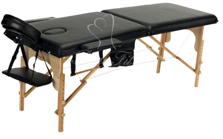Массажный стол Body Fit 2-х сегментный деревянный,стол для массажа,кушетка деревянная (черный)