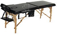 Массажный стол Body Fit 2-х сегментный деревянный,стол для массажа,кушетка деревянная (черный) , фото 1