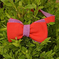Галстук-бабочка мужская льняная двухсторонняя (красный; фиолетовый)