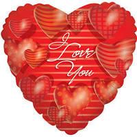 Гелиевый шар Сердце 465 Любовь Сердца красные объемные 18/45см , арт. 17707-18