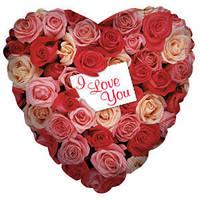 Гелиевый шар Сердце 597 Любовь Розовый сад 18/45см , арт. 17353-18