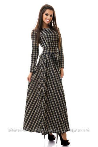 Платье женское в пол клетка
