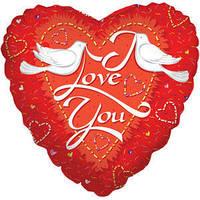 Гелиевый шар Сердце 531 Любовь Голуби 18/45см , арт. 17587-18