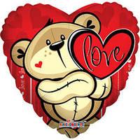 Гелиевый шар Сердце 622 Любовь Медвежонок с сердцем 18/45см , арт. 19402-18