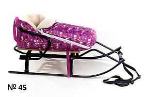 Меховой фиолетовый конверт для санок и колясок Снеговик