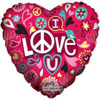 Гелиевый шар Сердце 625 Любовь Любовь и мир 18/45см , арт. 19412-18