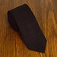 Галстук мужской узкий черный замшевая ткань Bow Tie House™