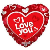 Гелиевый шар Сердце 659 Любовь Я тебя люблю красное 18/45см , арт. 19400-18