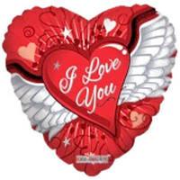 Гелиевый шар Сердце 655 Любовь Крылья 18/45см , арт. 19118-18