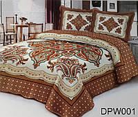 Покрывало на кровать с узоров кофейного цвета + 2 наволочки