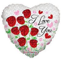 Гелиевый шар Сердце 662 Любовь Розы красные 18/45см , арт. 19413-18