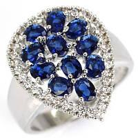 Кольцо серебро танзанит