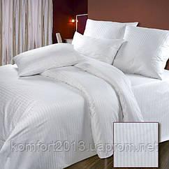 Полуторное постельное белье Страйп-сатин белый 1/1см, 100%хлопок