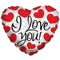 Гелиевый шар Сердце 668 Любовь Я тебя люблю сердечки красные 18/45см , арт. 19396-18