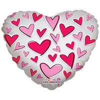 Гелиевый шар Сердце 667 Любовь Сердечки красные и розовые прозрачный 18/45см , арт. 34469-18