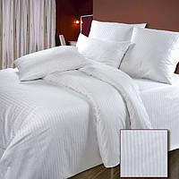 Постельное белье Страйп-сатин белый1/1см 100%хлопок - двуспальный комплект