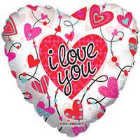 Гелиевый шар Сердце 678 Любовь Сердца с орнаментом прозрачный 18/45см , арт. 19330-18