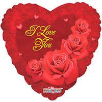 Гелиевый шар Сердце 683 Любовь Розы 18/45см , арт. 19403-18