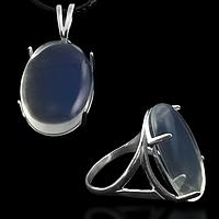 Місячний камінь, срібло 925, кільце, кулон комплект
