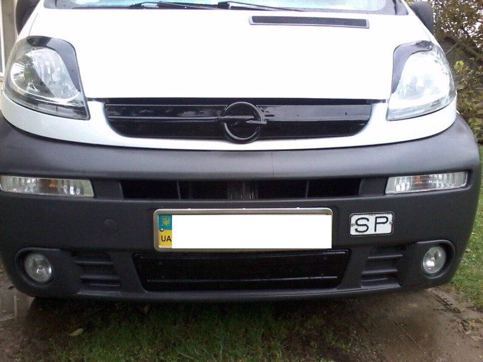 Зимняя накладка Opel Vivaro 2001-2006 (решетка), Глянец
