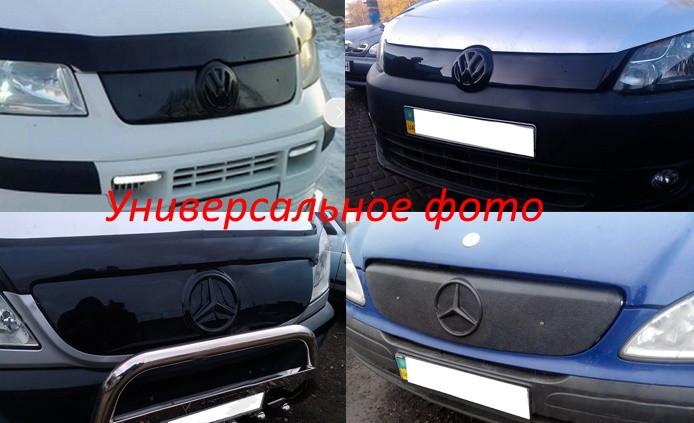 Зимняя накладка Volkswagen T5 2003-2009 (бампер короткая на среднюю), Глянец