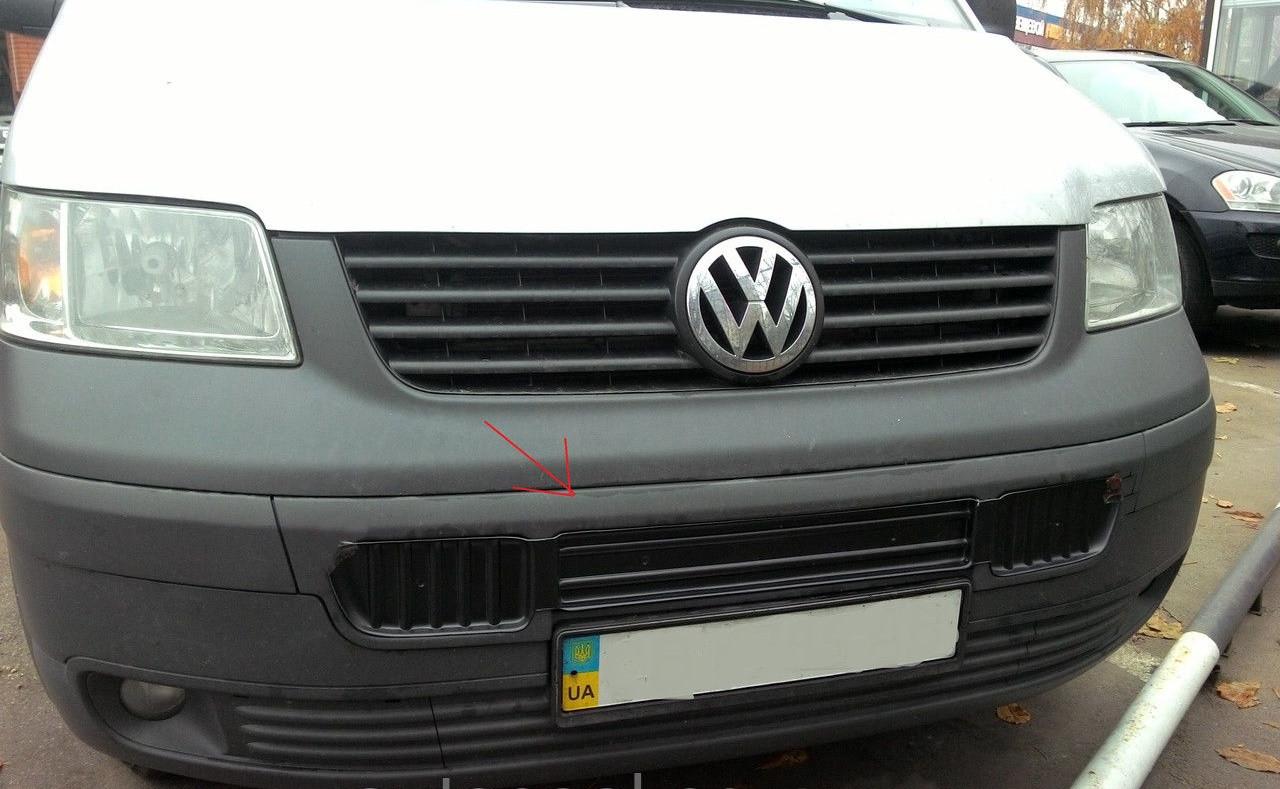 Зимняя накладка Volkswagen T5 2003-2009 (бампер длинная на 3 решетки), Глянец