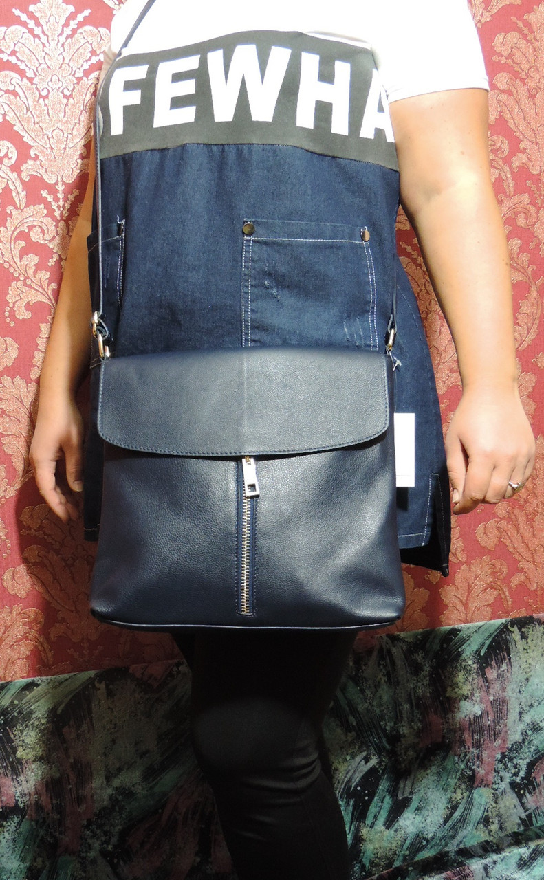 "Женская кожаная сумка планшет VERA PELLE (S0351), Италия, ""Genuine leather"". Цвет темно синий."