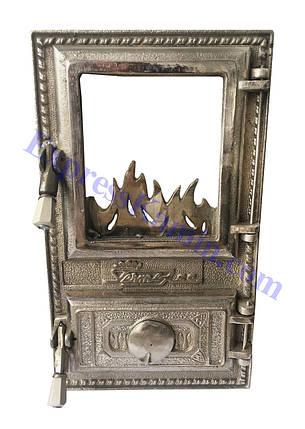 """Дверцы печные со стеклом """"Огонек"""" Чугунная дверка для печи барбекю, фото 2"""