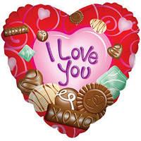 Гелиевый шар Сердце 529 Любовь Шоколадная любовь 18/45см , арт. 17581-18