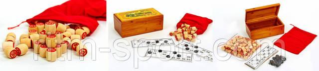 Красивая бамбуковая коробка, в которой находятся мешочек с бочонками, фишки и карточки. Настольная игра Лото будет отличным подарком друзьям и знакомым.