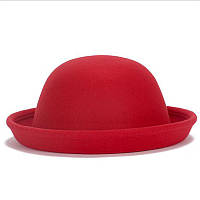 Шляпа красная фетровая Боулер Дерби Котелок
