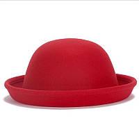 Bow Tie House™ Шляпа красная фетровая Боулер Дерби Котелок