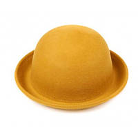 Шляпа желтая фетровая Боулер Дерби Котелок