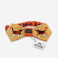 Bow Tie House™ Бабочка деревянная с кошечками в коралловом оттенке