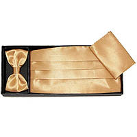 Bow Tie House™ Пояс камербанд бежевый (кушак) с бабочкой и платком