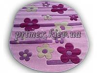 """Рельефный овальный ковер Радуга """"Бусины-цветы"""", цвет розовый"""