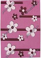 """Рельефный прямоугольный ковер Радуга """"Бусины-цветы"""", цвет темно-розовый"""