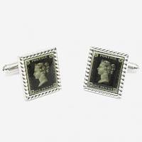 Bow Tie House™ Запонки почтовая марка Один пенни