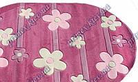 """Рельефный овальный ковер Радуга """"Бусины-цветы"""", цвет темно-розовый"""
