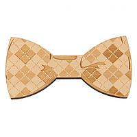 Bow Tie House™ Деревянная бабочка на магните текстурная в клетку