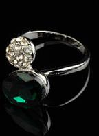 Кольцо с зеленым и белыми кристаллами код 105 р 17,18,19