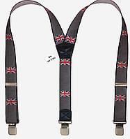 Подтяжки серые с флагом Великобритании