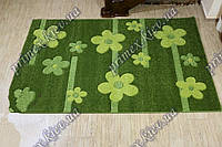 """Рельефный прямоугольный ковер Радуга """"Бусины-цветы"""", цвет зеленый"""