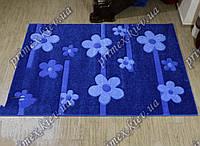 """Рельефный прямоугольный ковер Радуга """"Бусины-цветы"""", цвет синий"""