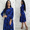 Платье женское клетка миди юбка-клеш, фото 3