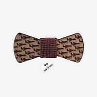Bow Tie House™ Деревянная бабочка с самолетиками и коричневой серединкой